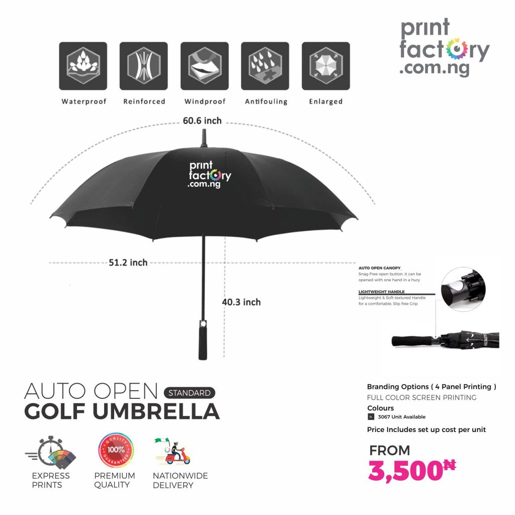 Auto Open Rain and wind resistant Golf Umbrella